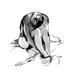 Ink Wash Figure Drawings Nude Female Bathing by GalleryintheGarden