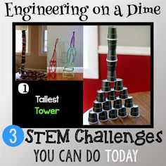 Engineering on a Dime: 3 STEM Challenges You Can Do Today .  STEM challenges are a great way to explore engineering when you lack the time to devote to a rigorous engineering design challenge. These three challenges can be set up with very little prep time and with materials you either have on hand or can easily obtain.