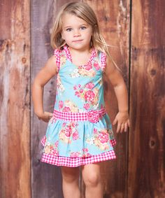 Blue Floral Jitterbug Dress - Toddler & Girls Jelly The Pug $23.91