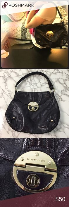Dark Purple Elliot Lucca Leather Bag Super cute quality made bag perfect for carrying everything! Elliot Lucca brand. Inside of bag is slightly dirty but outside is in great shape. Made of 100% pig leather. Cute clasp closure. 23may17beko Elliott Lucca Bags