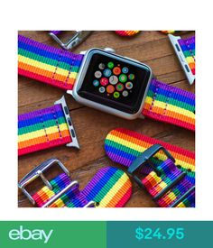 Watch Bands Pride Rainbow - 2 Piece Classic Ss Nylon Watch Band For 42Mm Apple Watch #ebay #Electronics