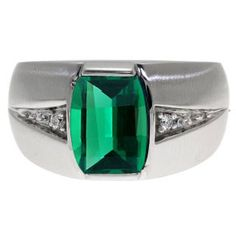 Custom Made Men's Barrel Cut Emerald Gemstone Diamond Ring In White Gold Available Exclusively at Gemologica.com