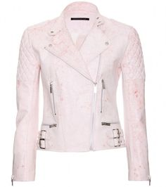Print Leather Jacket - Lyst