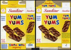 Sunshine - Yum Yums cookie box - 1970's by JasonLiebig, via Flickr....much like Yes Yes cookies by Federal Biscuit Co.