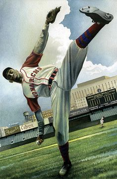 Satchel Paige of the Monarchs by Rich Marks    www.asportinglife.com #sportsart #sports