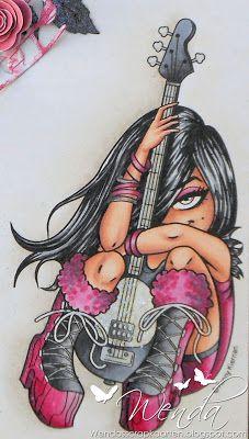 Wenda's Scrapkaarten Chica Cool, Digi Stamps, Copic Markers, Color Combinations, Drawings, Bass, Fonts, Guitar, Floor
