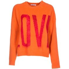 Love Sweater ($225) ❤ liked on Polyvore featuring tops, sweaters, arancio, dondup, extra long sleeve sweater, round neck sweater, orange sweaters and orange top