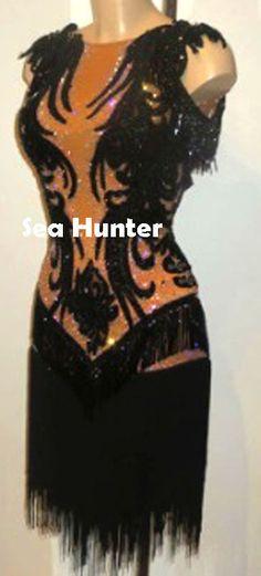 L2958 Ballroom party latin rumba salsa samba chacha dance dress US10 Fringes #seahunter