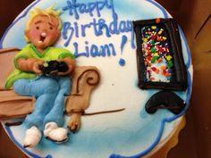 Playing video games birthday cake
