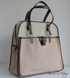 Authentic-HERMES-Sac-Jumping-Swift-Toile-H-Chevron-Canvas-Shoulder-Tote-Ebene