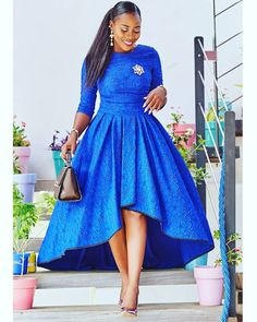 Blue African Print Dress/High Low Dress/African Clothing/African Dress For Women/African Fabric Dres African Party Dresses, African Dresses For Women, African Print Dresses, African Attire, African Wear, African Fashion Dresses, African Dress Styles, Fashion Outfits, African Clothes