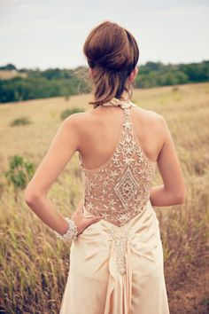 Lace Back Wedding Dresses - A dreamy lace back wedding dress with a sheer and gorgeous applique of sequins and beads on the back that leads to a gorgeous sweep train. #Lace #Wedding #Dress #Gown #Back