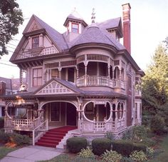 "architecture-junkie: ""Queen Anne Style Victorian Homes (Part "" Houses Architecture, Victorian Architecture, Beautiful Architecture, Beautiful Buildings, Beautiful Homes, Stadium Architecture, Pink Houses, Old Houses, Vintage Houses"