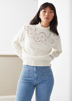Wool Blend Scalloped Sweater - Creme White - Sweaters - & Other Stories