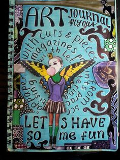 My first art journal page with pieces of magazine and prints. Miranda Bosch-Thurlings