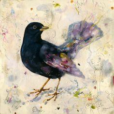 "Blackbirds Crows Ravens:  ""#Blackbird,"" mixed media on paper by Heiko Müller."