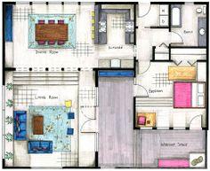 Sharon Mattingly, hand-rendered floor plan.