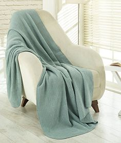 """Ottomanson Bed Blankets, Bedspread, Plush Cotton Throw, Soft Cotton Cozy Blanket Imported from Europe Waffle Solid Fleece Blanket, 50"""" W x 65'' L, Sage Green"""