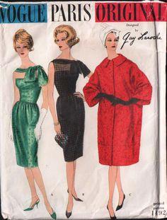 UNCUT VTG 1960 Vogue Paris Original Sewing Pattern - Guy Laroche Dress & Coat