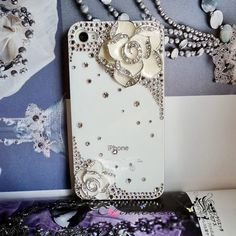 White apple iphone 4 4s case swarovski crystal by chinnerloulou, $49.00