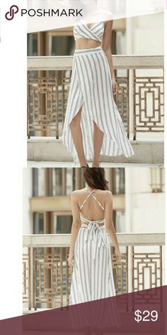 Crop top & skirt set Wrap criss-cross back crop top with matching high waisted wrap skirt. Soft, textured poly in a cute stripe. Perfect for the beach since it is easily removed and changeable.  Skirt Measurements: Waist 25.25 Length 37.75 Skirts High Low