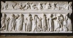 The ancient Roman marble Sarcophagus of the Muses; it depicts the nine Muses, each with her symbolic attribute; l to r: Calliope (epic poetry), a scroll; Thalia (comedy), a comic mask; Terpsichore, dance; Euterpe ( lyric poetry), a double flute; Polymnia (hymnody), a rock; Clio (history), a writing-tablet; Erato ( love poetry), a cithara; Urania (astronomy), a globe; Melpomene (tragedy), a tragic mask. (The Louvre Museum)