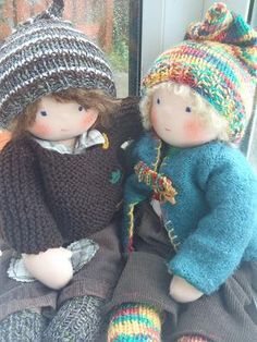 Two of the cutest little dolls - with such detail in their clothes. Who said dolls are just for children! Made by the very talented Laura at Nestled Under Rainbows  #Waldorf #doll #rainbows