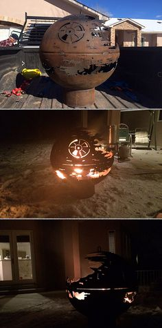 For Christmas this year, a skilled 84-year-old metalworker created a fire pit for his grandchildren that looks like the iconic, half-finished Death Star II battlestation from Star Wars.