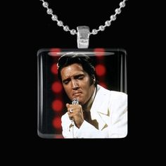 Elvis If I Could Dream Glass Pendant w Necklace or Keychain http://www.artfire.com/ext/shop/studio/HCLTreasures