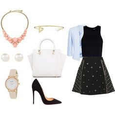 A fashion look from June 2015 featuring bandeau top, women's plus size blazers and flared skirts. Browse and shop related looks. Alexander Wang, Skater Skirt, Christian Louboutin, Kate Spade, Outfit Ideas, Shoe Bag, Skirts, Polyvore, Stuff To Buy