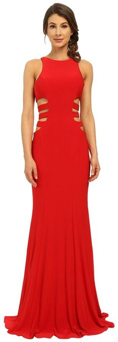 Faviana Jersey Gown w/ Side Cut Outs 7820