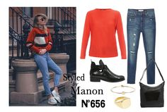 Red sweater, ripped jeans & buckle boot - Styled by Manon