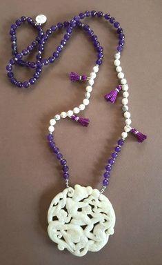 Dragon Goddess Japa Mala by AkashaMalas on Etsy Crochet Necklace, Beaded Necklace, Purple Agate, Spiritual Jewelry, Ancient Symbols, Jade Pendant, Agate Beads, Silver Color, Dragon