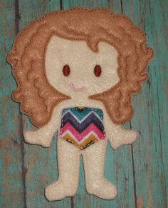 """Courtney  felt dress up unpaper paper doll 7"""" from my """"Unpaper Felt Dolls Share"""" collection Listing for doll only by cabincraftycreations on Etsy"""
