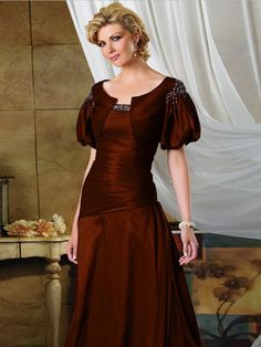 Scoop Neckline Taffeta Long Mother's Dress