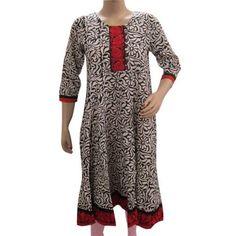 Amazon.com: Designer Kurta, White Black Floral Print Cotton Yoga Frock Anarkali Style Kurti Tunic Top Blouse: Clothing