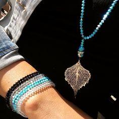 #booboosheek #handmade #swarovski #crystals #silver #leaf #pendant #colorful #bracelets #stackable #BBS