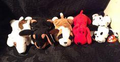 LOT of 5 TY Beanie Babies DOGS with DOTTY DOBY BUTCH BERNIE ROVER #Ty