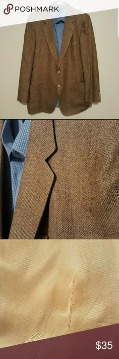 Lanvin Sport Coat Hate to let this one go . Gently worn and well taken care of. Tear and stain on the inside of the jacket.  ***SHIRT NOT INCLUDED***  Measurements taken while laying flat: Size: 42R Tag missing. Based of measurements. Color: Brown Material: 100% Silk Tag missing Chest (Underarm to Underarm): 22.5 Waist: 21 Length (From Bottom of Collar): 32 Sleeves (Top of shoulder to end of cuff): 26 Shoulders (Seam to seam): 17.5 Vent: Single Lanvin Suits & Blazers Sport Coats & Blazers