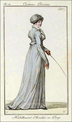 """Journal des Dames et des Modes, Paris February 1804  """"Habillement d'Amône en Drap"""""""