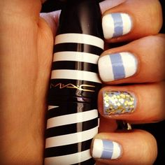 mac nail polish stripes glitter sparkles beauty