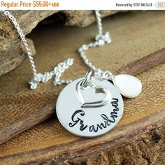15% OFF SALE Grandma Necklace, Gift for Grandma, Grandma Jewelry, Nana Necklace, Personalized Jewelry, Grandma Necklace, Gift for Nana, Moth