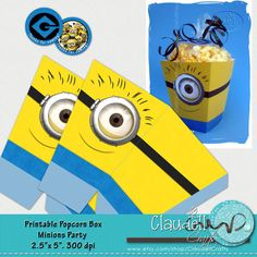 Minions Party Printable Popcorn / Favor Box 300 by ClaudellCrafts, $2.50