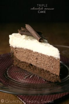 Triple Chocolate Mousse Cake Recipe- Like Black Tie Mousse Cake at Olive Garden with layers of chocolate cake, chocolate mousse, white chocolate mouse, and chocolate ganache.
