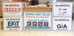A sampling of the 20 golf hole sponsorship signs and dinner sponsor sign we completed for WMHA MD7 Blue for their fundraiser golf tournament this past Saturday.  We heard it was a huge success!   #hockeyseasonishere www.SpeedproDurham.ca