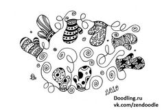 Doodle mittens Christmas, winter, holidays, winter
