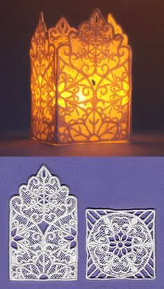 Stitch freestanding lace pieces on water-soluble stabilizer, then assemble into a pretty snowflake lantern.