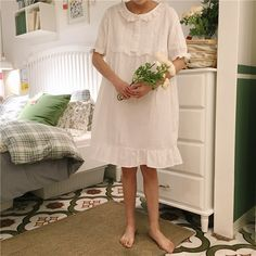 Mihoshop Ulzzang Korea Women Fashion Clothing 2017 chic  of the new  all-match T-shirt concise comfortable sleep cotton dress