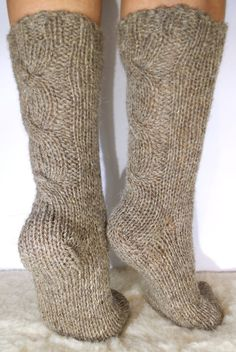 """SALE! 15% OFF! Wool Socks in Color """"Coffee with Milk"""" . Pure Sheep Wool Yarn. Soft and Comfy. Hand Knitted Wool Socks."""