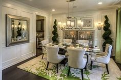 Traditional Dining Room Decorating Ideas Completing the Area with Formal Dining Room Furniture-- i like it minus the trees Glass Dining Room Table, Dining Room Design, Dining Room Furniture, Dining Area, Formal Dining Decor, Traditional Dining Rooms, Beautiful Dining Rooms, Dining Room Inspiration, Dream Home Design